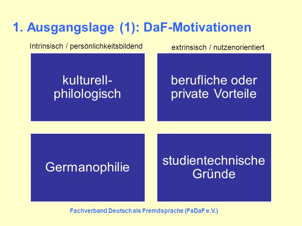 1. Ausgangslage (1): DaF-Motivationen