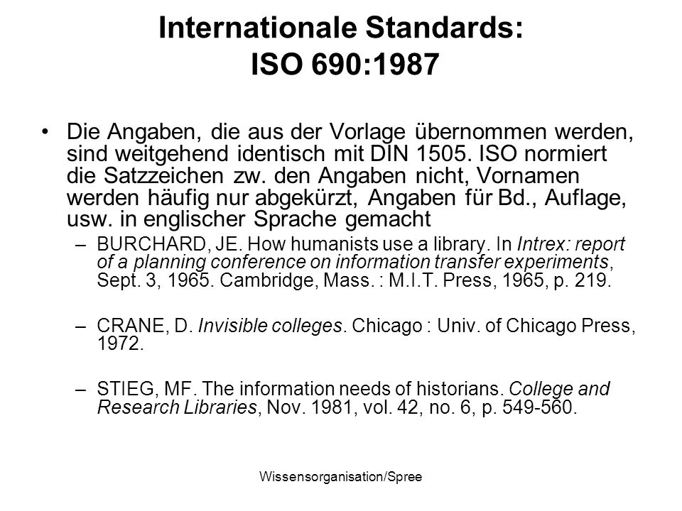 Internationale Standards: ISO 690:1987