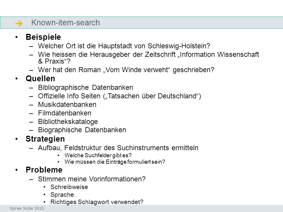  Known-item-search Beispiele Quellen Strategien Probleme