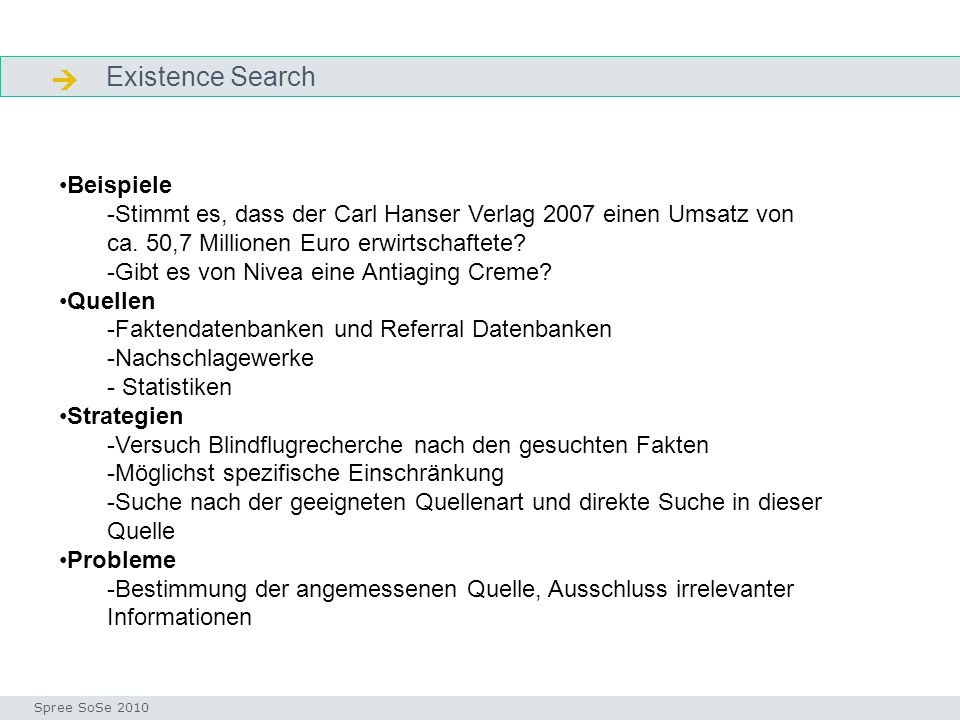  Existence Search Beispiele