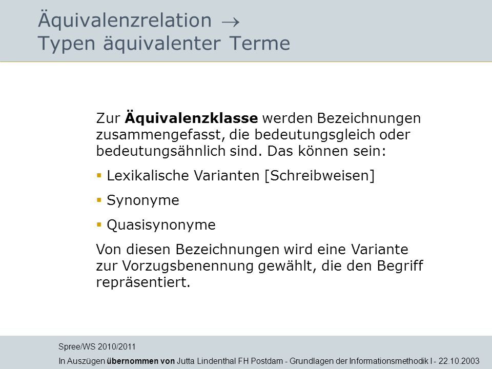 Äquivalenzrelation  Typen äquivalenter Terme