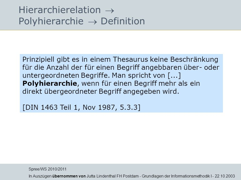 Hierarchierelation  Polyhierarchie  Definition