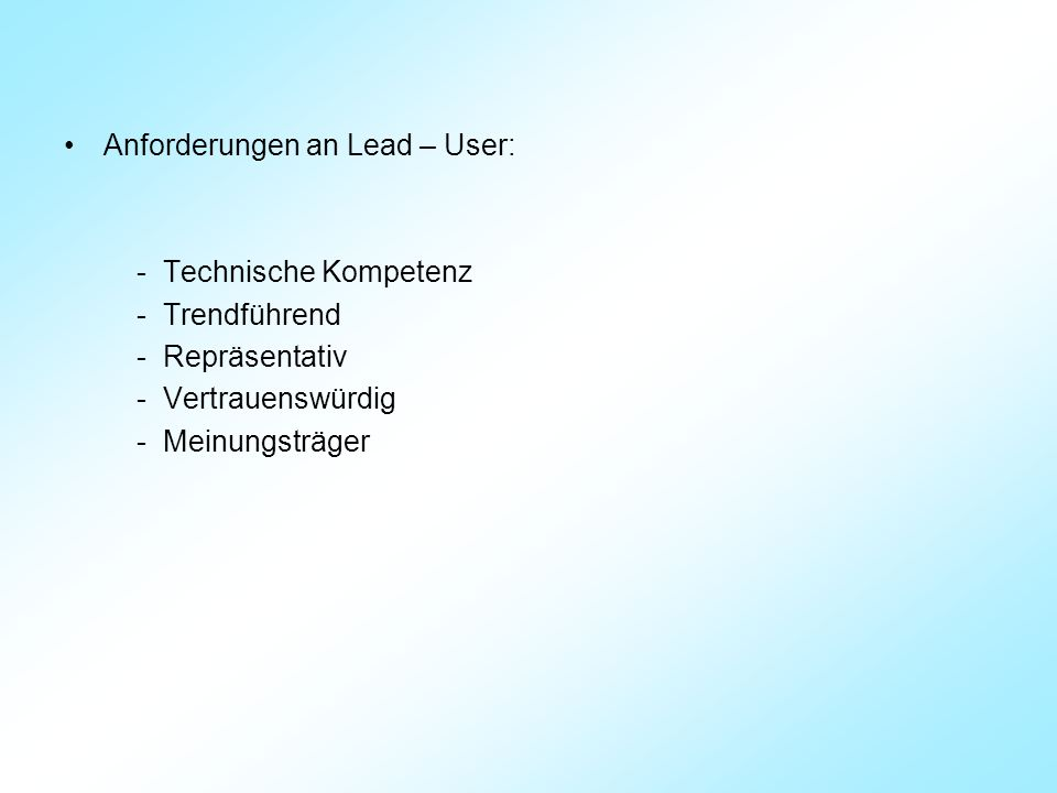 Anforderungen an Lead – User: