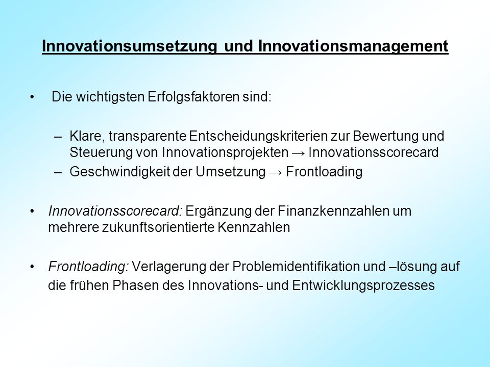 Innovationsumsetzung und Innovationsmanagement