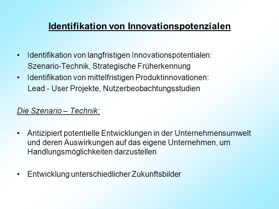 Identifikation von Innovationspotenzialen