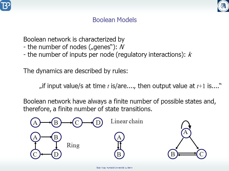 "Boolean Models Boolean network is characterized by. the number of nodes (""genes ): N. the number of inputs per node (regulatory interactions): k."