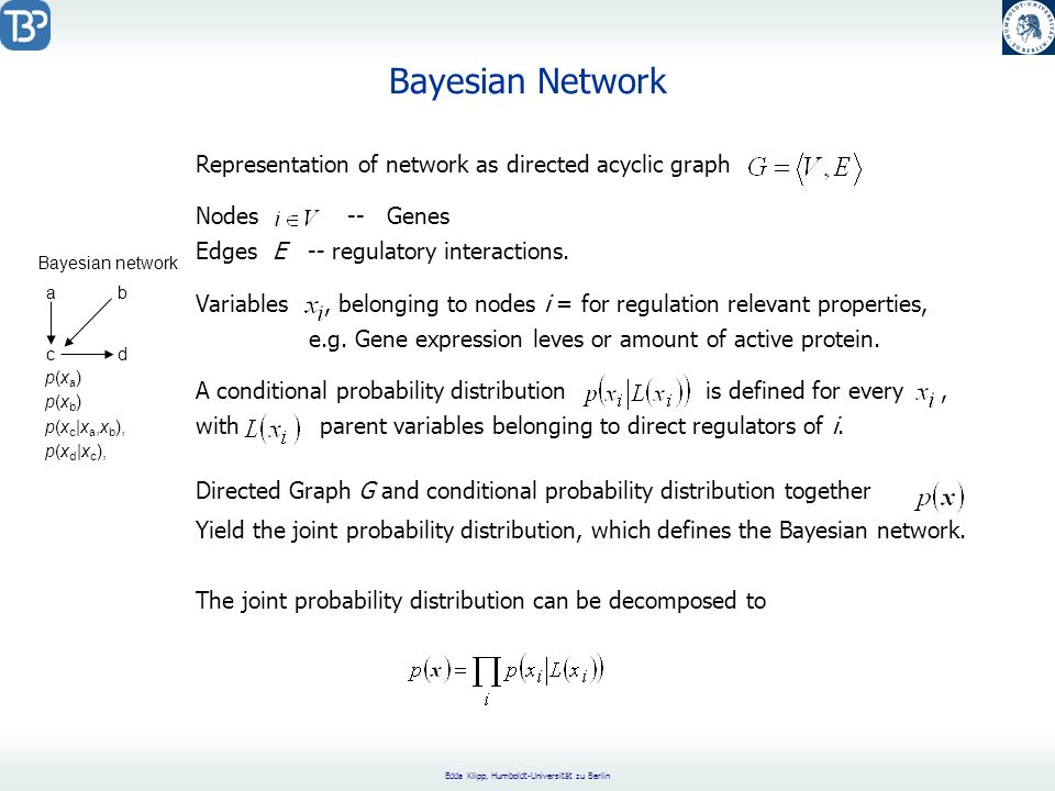 Bayesian Network Representation of network as directed acyclic graph