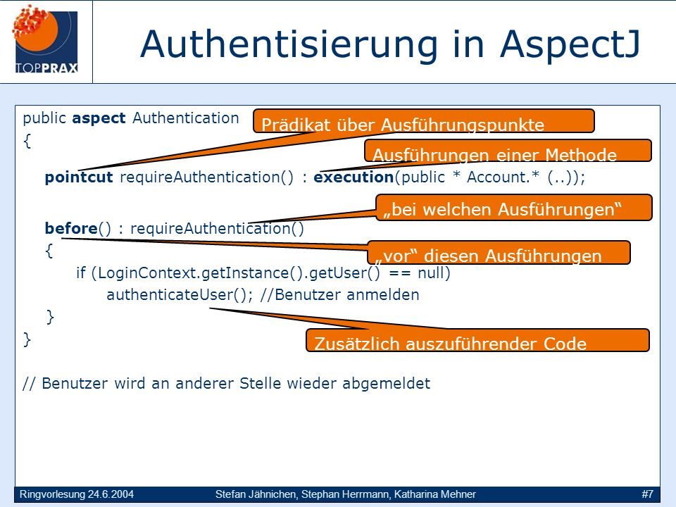 Authentisierung in AspectJ