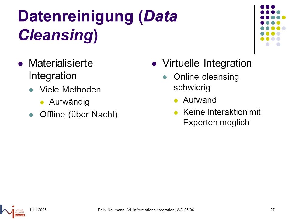 Datenreinigung (Data Cleansing)