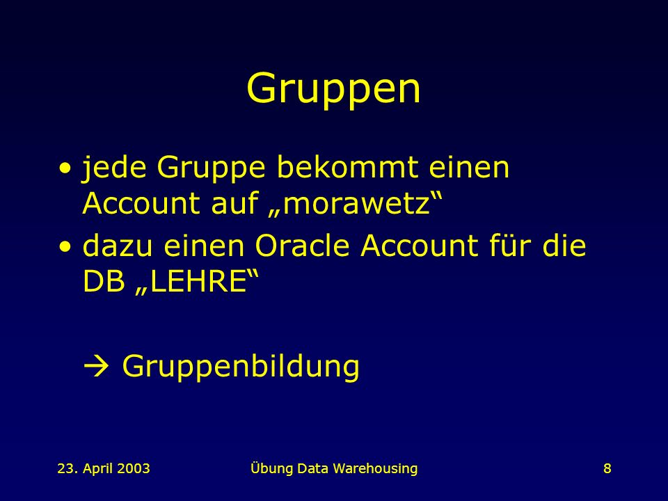 Übung Data Warehousing