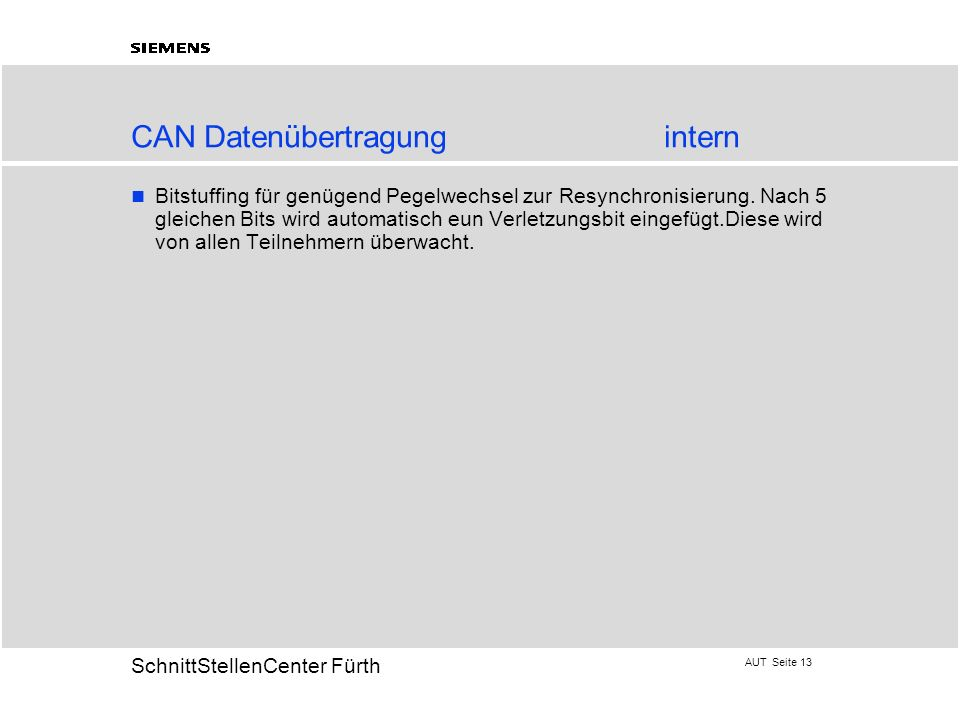 CAN Datenübertragung intern