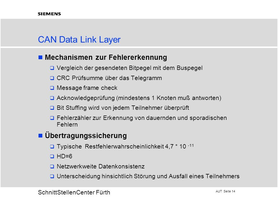 CAN Data Link Layer Mechanismen zur Fehlererkennung