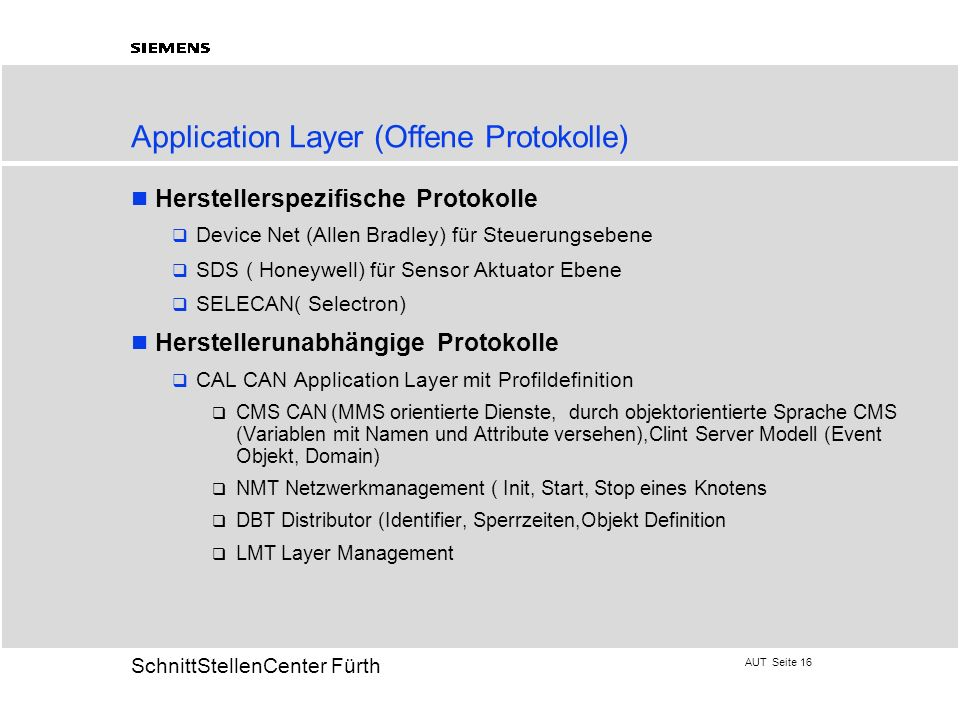 Application Layer (Offene Protokolle)