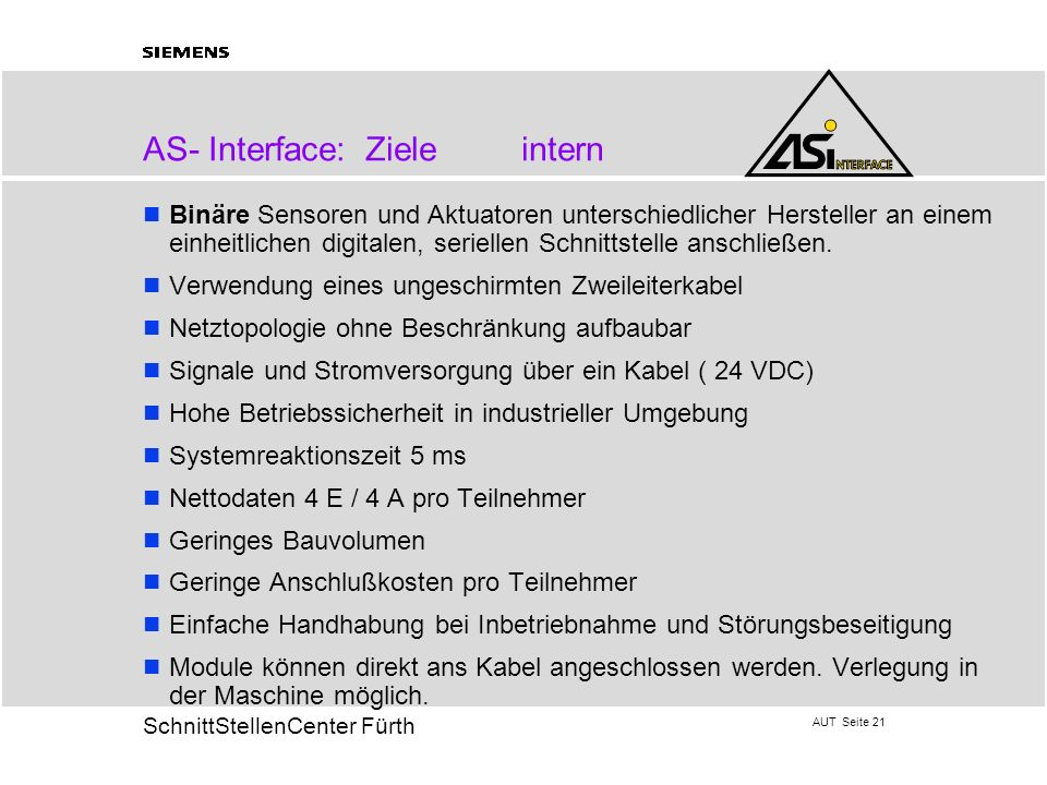 AS- Interface: Ziele intern