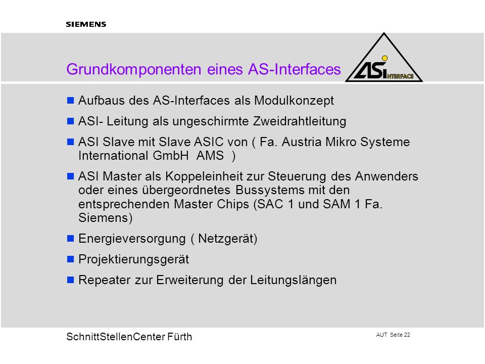 Grundkomponenten eines AS-Interfaces