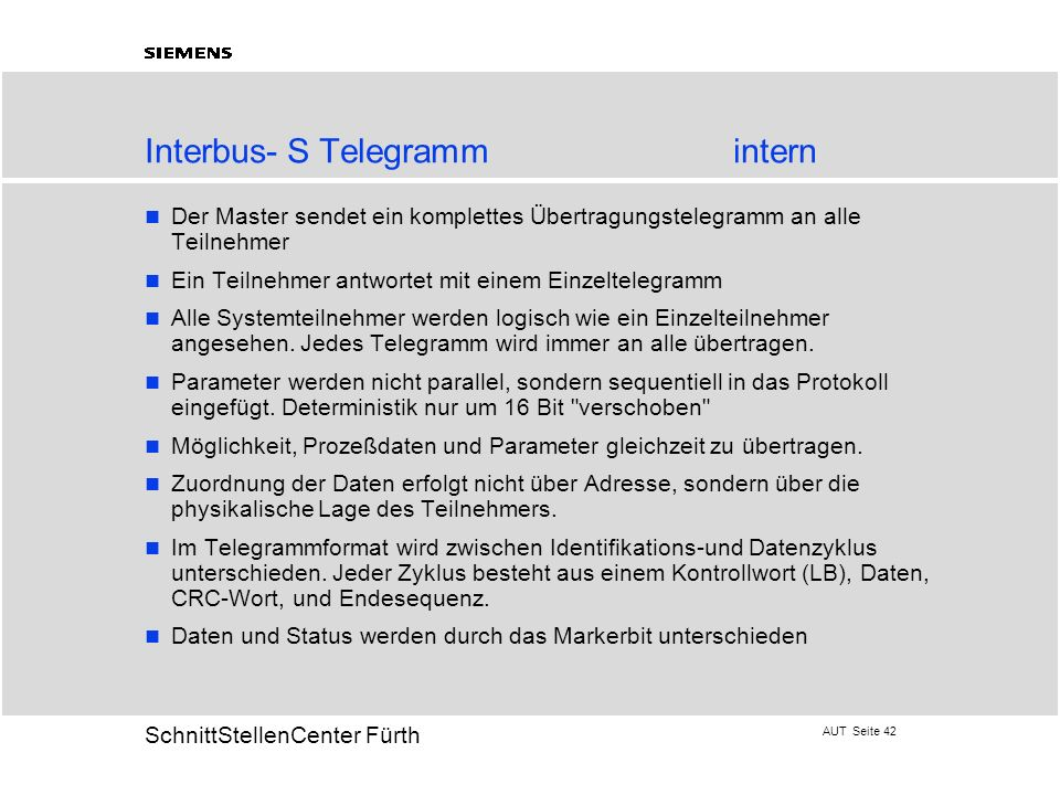 Interbus- S Telegramm intern