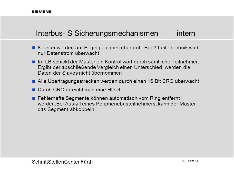 Interbus- S Sicherungsmechanismen intern