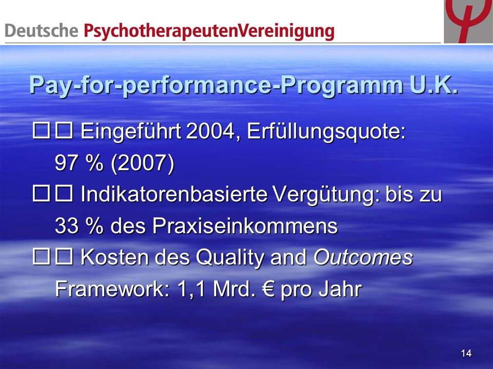 Pay-for-performance-Programm U.K.