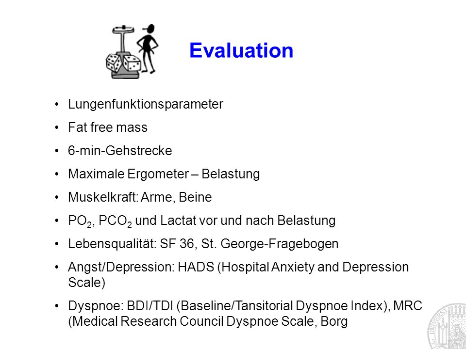 Evaluation Lungenfunktionsparameter Fat free mass 6-min-Gehstrecke