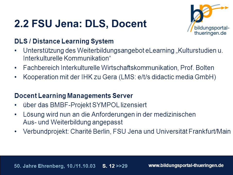 2.2 FSU Jena: DLS, Docent DLS / Distance Learning System