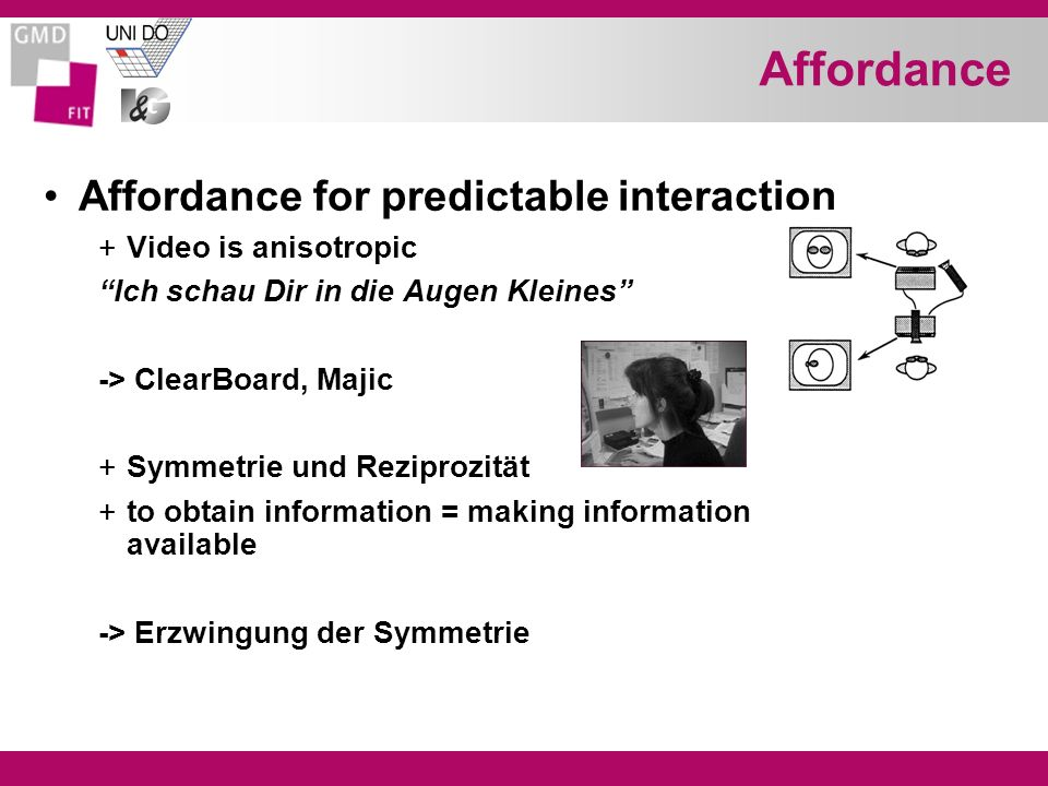 Affordance Affordance for predictable interaction Video is anisotropic