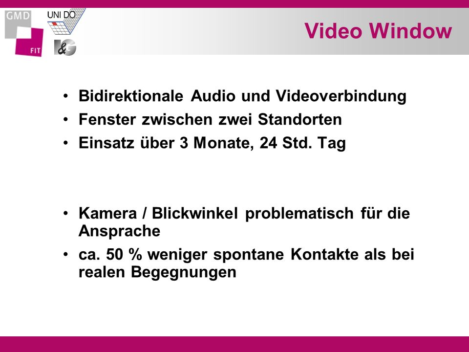 Video Window Bidirektionale Audio und Videoverbindung