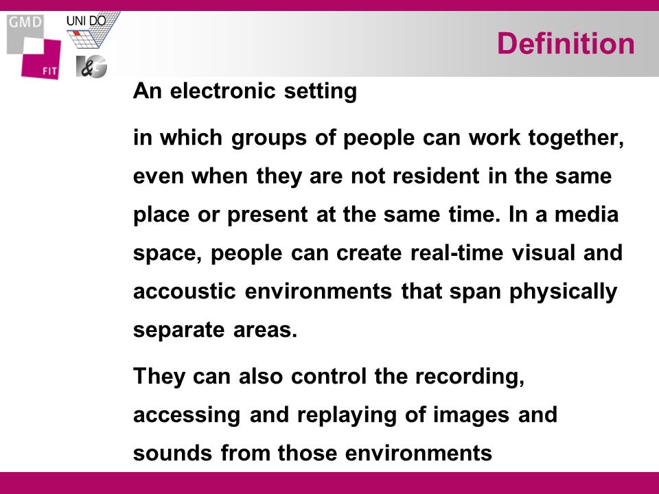 Definition An electronic setting