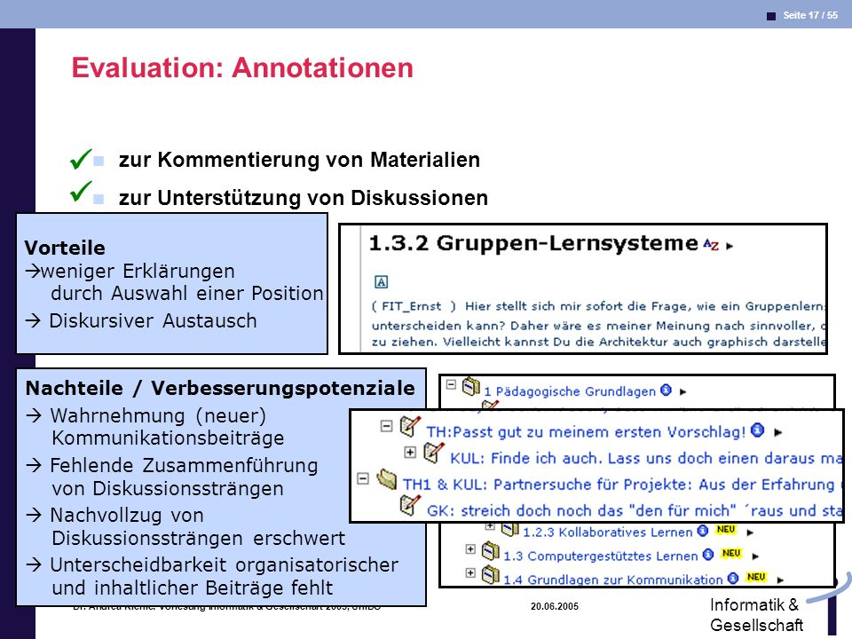 Evaluation: Annotationen