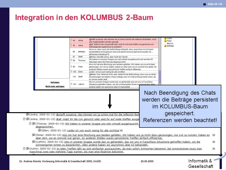 Integration in den KOLUMBUS 2-Baum