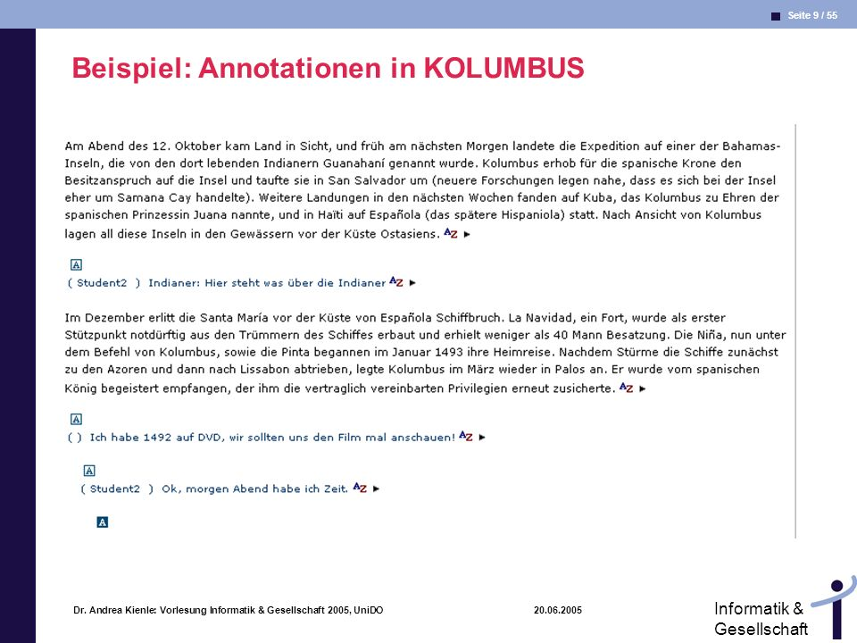 Beispiel: Annotationen in KOLUMBUS