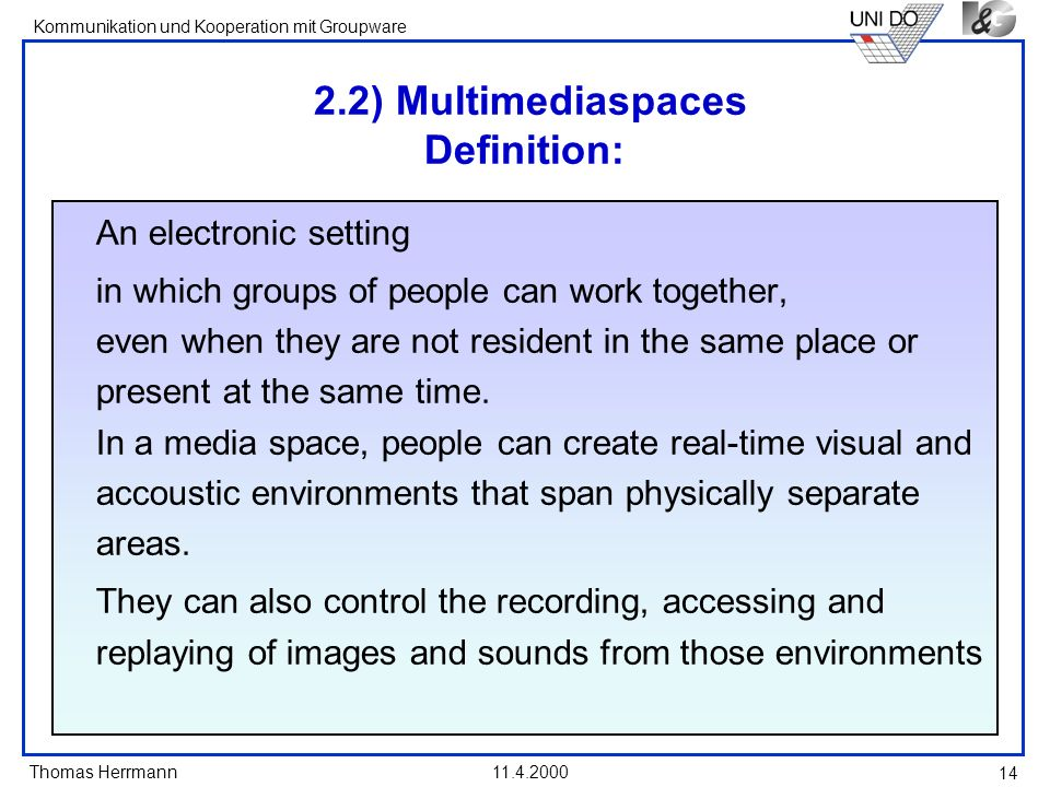 2.2) Multimediaspaces Definition: