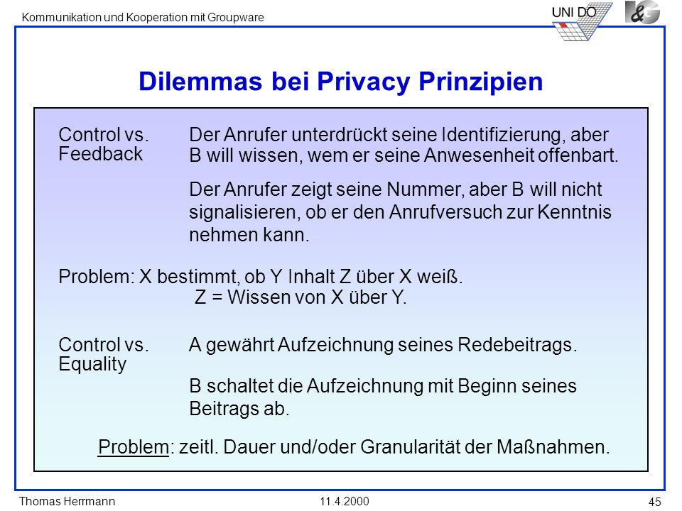 Dilemmas bei Privacy Prinzipien