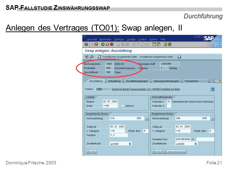 Anlegen des Vertrages (TO01): Swap anlegen, II