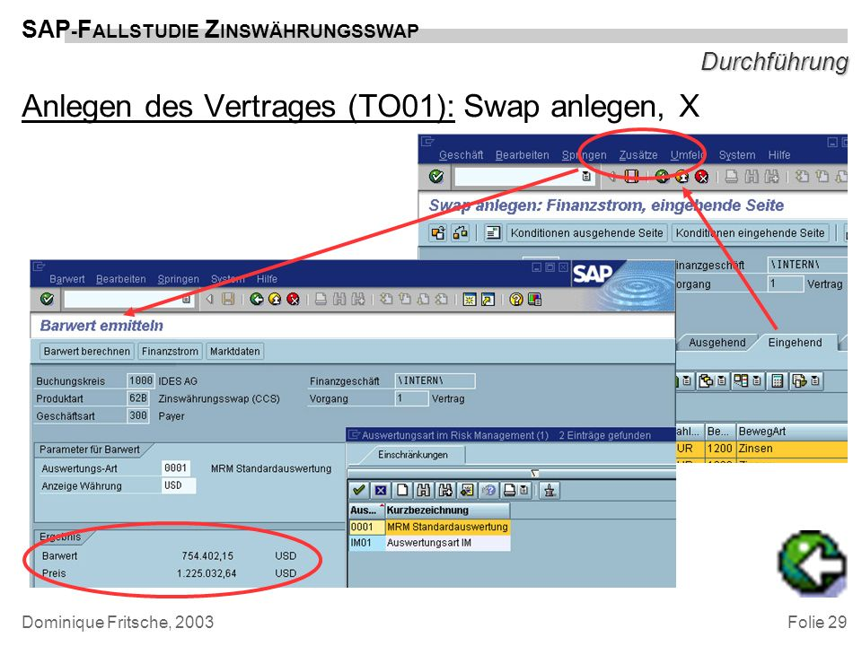 Anlegen des Vertrages (TO01): Swap anlegen, X