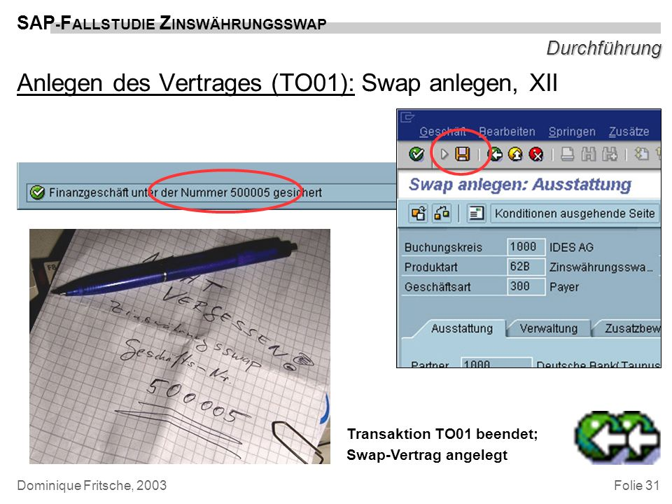 Anlegen des Vertrages (TO01): Swap anlegen, XII