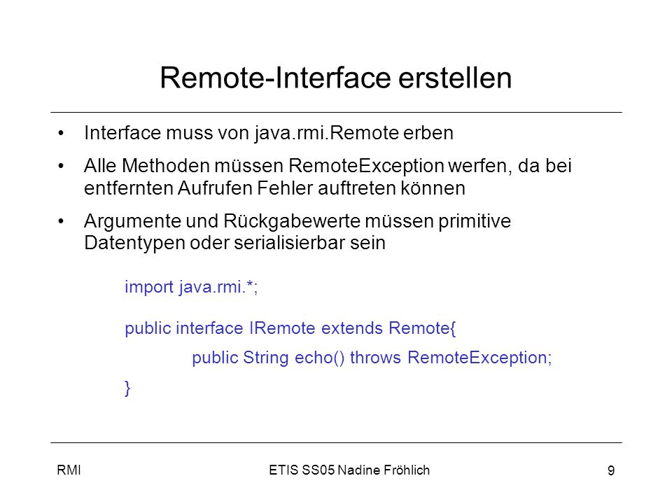 Remote-Interface erstellen