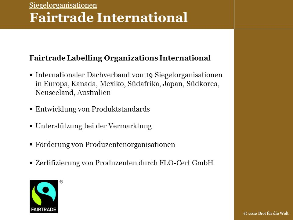 Siegelorganisationen Fairtrade International