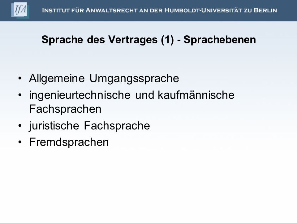 Sprache des Vertrages (1) - Sprachebenen