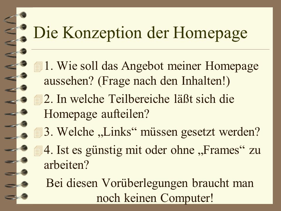 Die Konzeption der Homepage