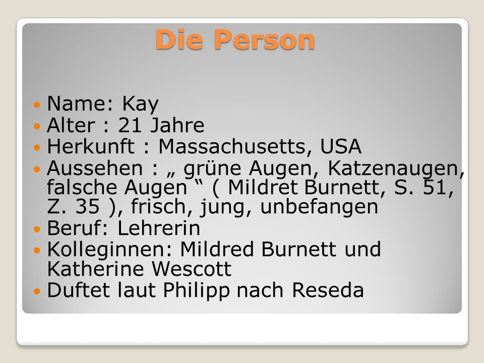 Die Person Name: Kay Alter : 21 Jahre Herkunft : Massachusetts, USA