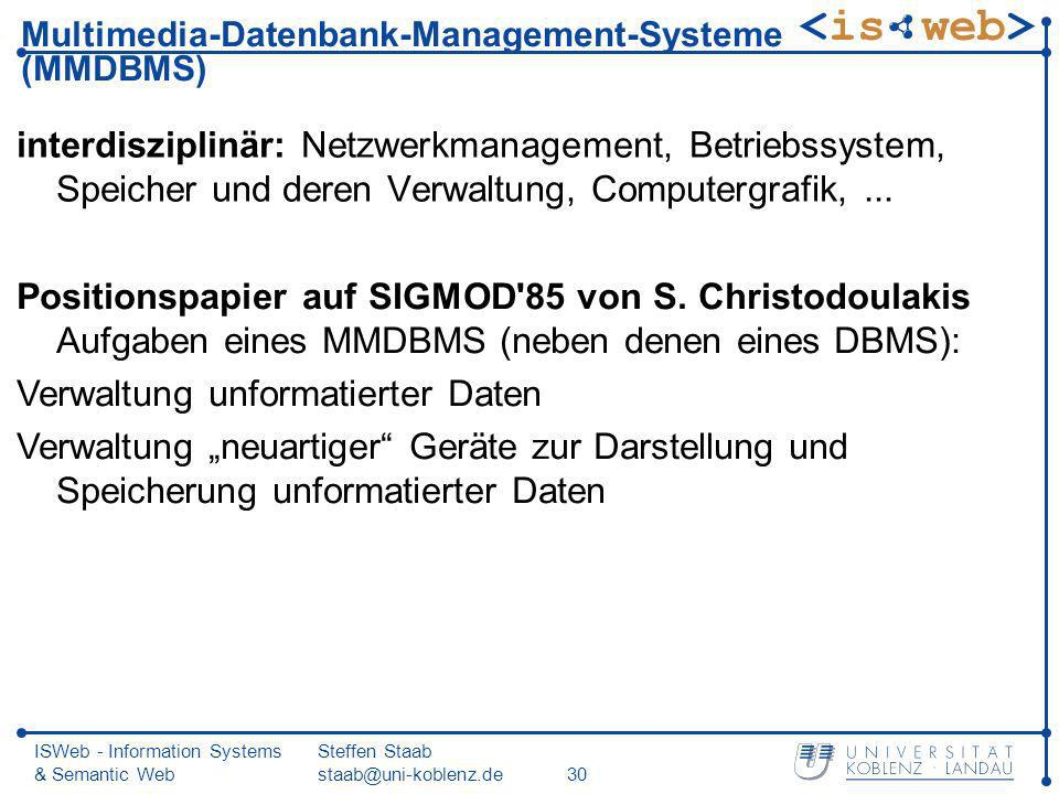 Multimedia-Datenbank-Management-Systeme (MMDBMS)