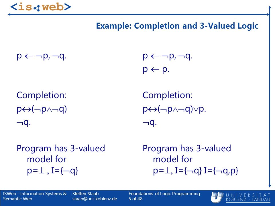 Example: Completion and 3-Valued Logic