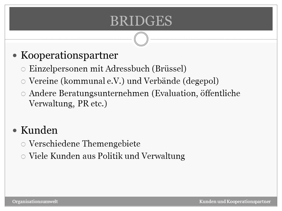 BRIDGES Kooperationspartner Kunden