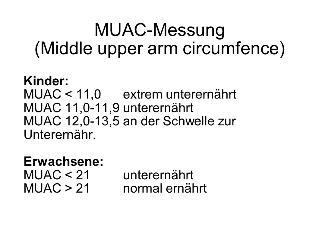 MUAC-Messung (Middle upper arm circumfence)