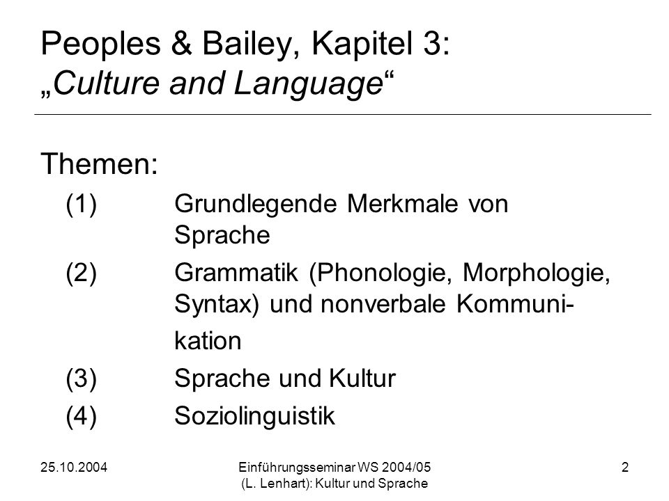 "Peoples & Bailey, Kapitel 3: ""Culture and Language"