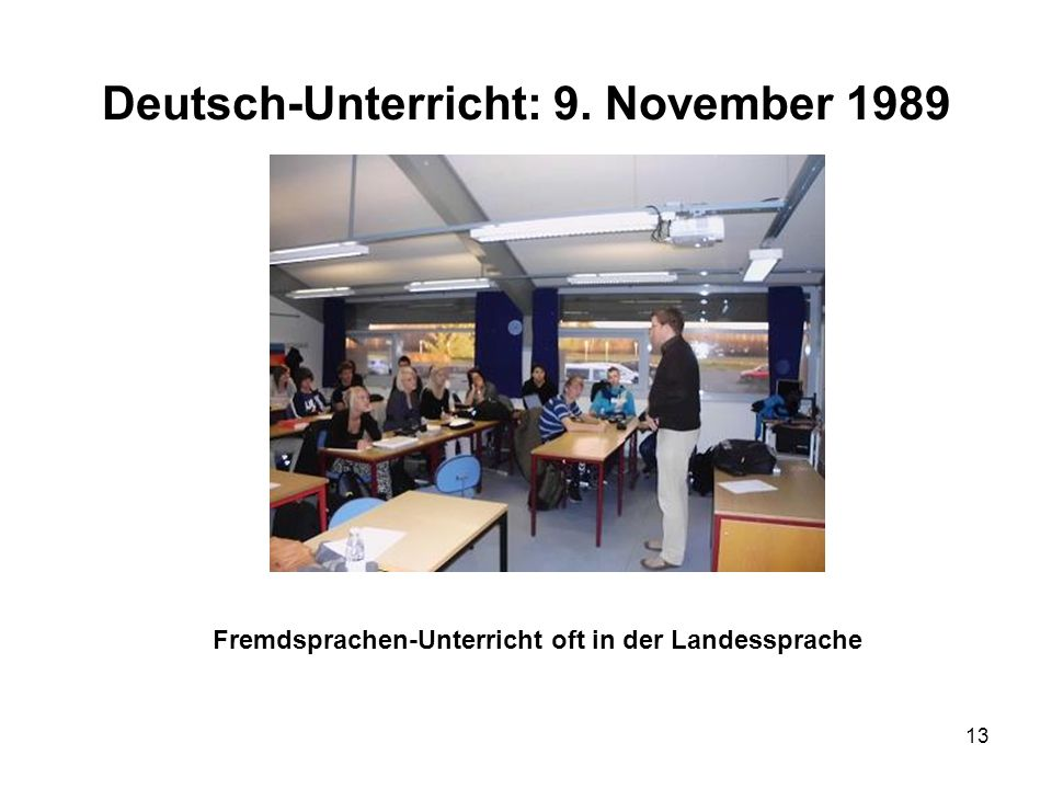 Deutsch-Unterricht: 9. November 1989