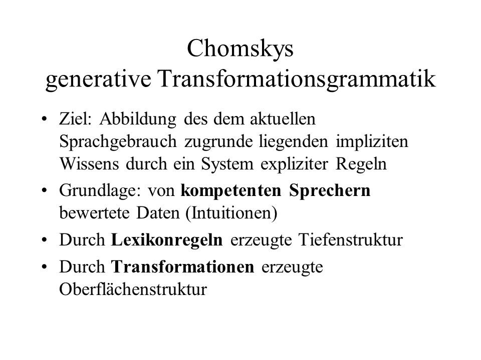 Chomskys generative Transformationsgrammatik