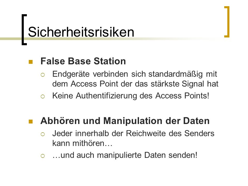 Sicherheitsrisiken False Base Station