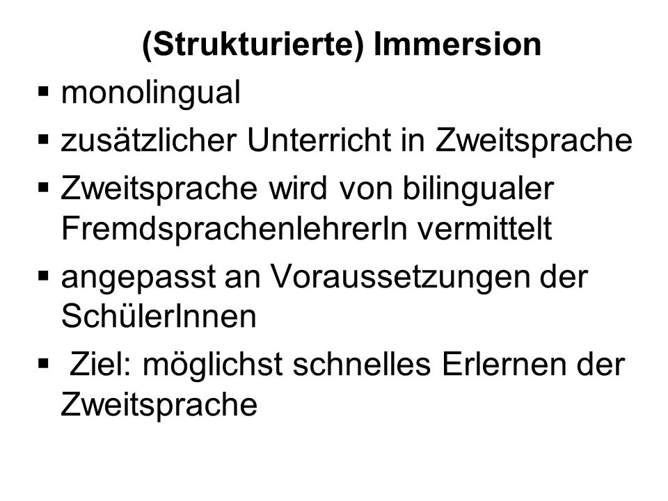 (Strukturierte) Immersion