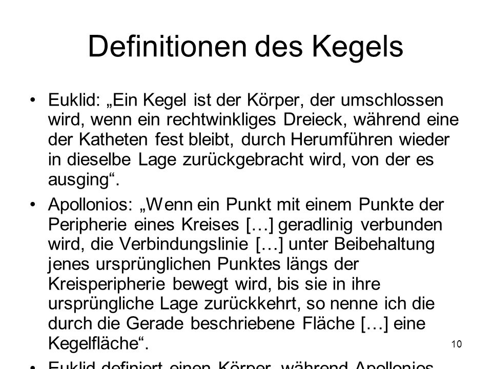 Definitionen des Kegels